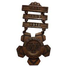 Antique Massachusetts Volunteer Militia Marksman Ladder Badge Military 1908-1910