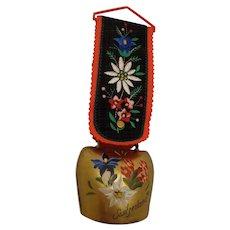 Vintage Brass Bell from Switzerland Handpainted Souvenir