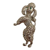 Lovely Toy Poodle Brooch Pin w/ Green Rhinestone Eyes