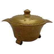 Arts & Crafts Nordic Brass Humidor Viking Footed Cauldron w/ Medieval Shield Lid