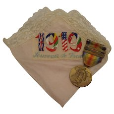 WWI Medal with Embroidered Silk Handkerchief 1919