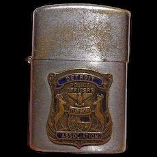 Vintage Detroit Police Lighter with Applied Badge