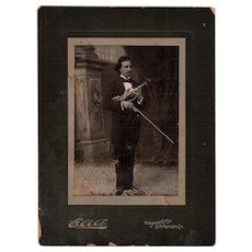 Antique Cabinet Photo San Francisco Violinist circa 1880