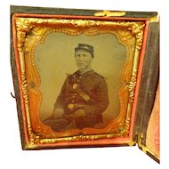 Rare Tintype Civil War American Indian Scout with Rank Accoutrements