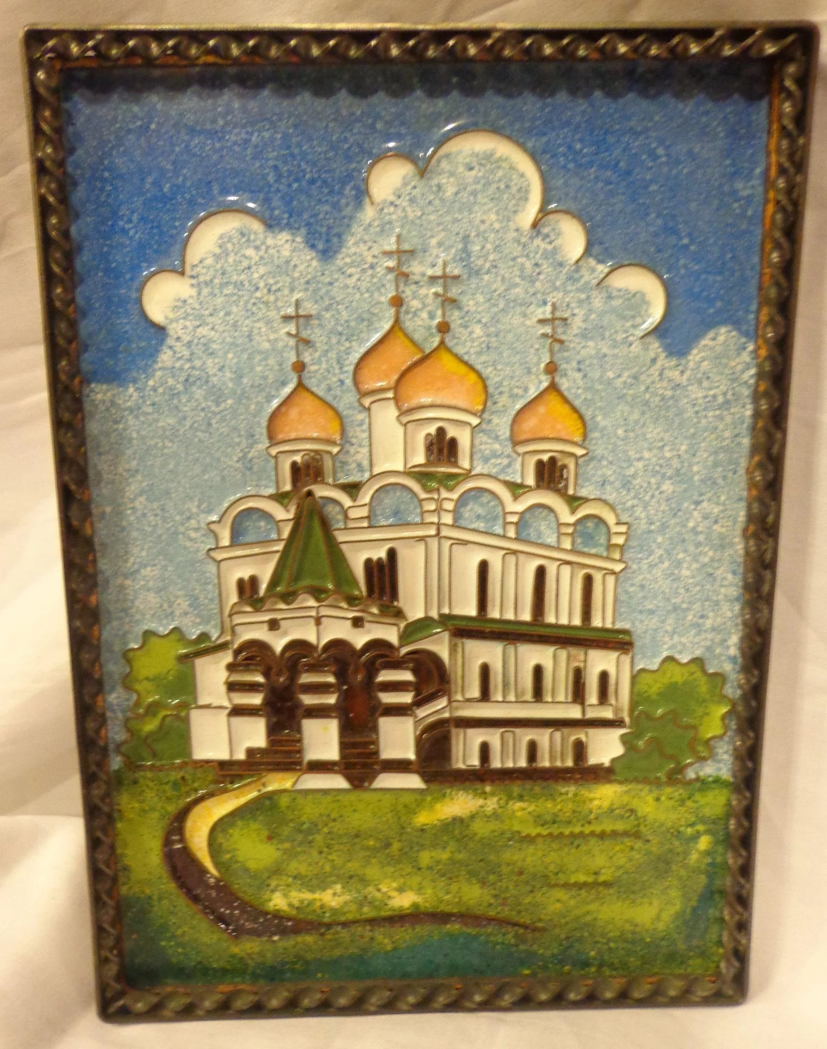 Vintage Enamel on Copper Russian Plaque of Orthodox Cathedral ...