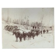 Large Cabinet Card of Russian Loggers with Horse Team Alaska Occupational Photograph
