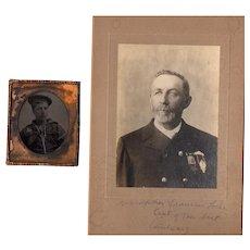 Historical Civil War Tintype Navy Sailor with GAR Veteran Cabinet Photo Massachusetts 8th Infantry