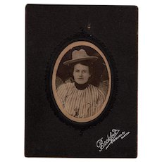 Rare Old West Cabinet Photo Woman with Cowboy Hat Saloon Girl or Show Performer