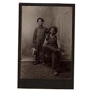 Antique Occupational Cabinet Photo of Two Brothers Coal Miners from West Virginia or Pennsylvania