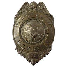 Vintage US Steel Plant Guard Police Badge #88 State of Ohio