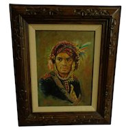 Outstanding Filipino Painting of a Bagobo Warrior from Mindanao by Philippines Artist Fortunato Jervoso