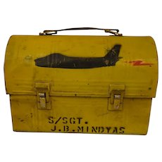 Vintage Folk Art Lunch Box Military Americana Graphic Named Jet Fighter Airplane FJ- 4B Fury
