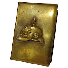 WWI Spiked Helmet Match Safe Pickelhaube / Kaiser Trench Art Matchbox Holder