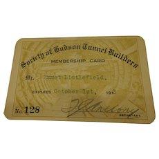 Rare Railroad ID Sandhog Society of Hudson Tunnel Builders New York