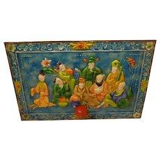 Gorgeous Antique Chinese Enamel Box Lid Copper