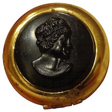 Antique Mourning Double Locket with Vulcanite Planchet Cameo Late Victorian c. 1900