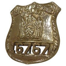 Vintage New York Police Off Duty Badge Numbered NYPD