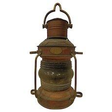 Old Ship's Anchor Line Light Copper & Brass Lantern Clark Bros of London and Bristol