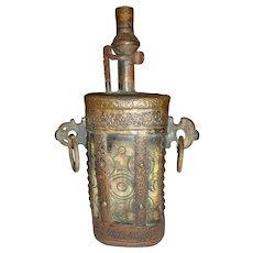 Antique Ottoman Rifle Powder Flask Late Victorian C. 1890 Ram's Horn & Copper