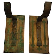 Rare Pair of Copper Outdoor Arts & Crafts Light Fixture Mounting Hooks