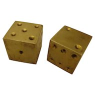Vintage Brass Dice from Las Vegas Estate Decorative Gambling Collectible