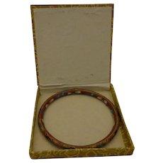 Vintage Chinese Cloisonne Bangle Bracelet in Original Box