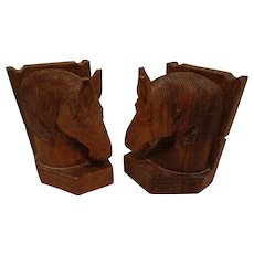 Vintage Carved Horsehead Bookends Equestrian Cowboy Western Horse Head Book Ends Decor