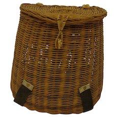 Vintage Fishing Creel Basket Midcentury Large Size Angler Decor