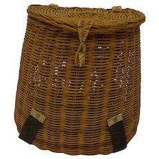 Vintage Fishing Creel Basket Midcentury Large Size Angler Decor