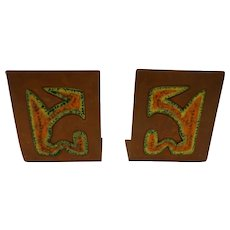 Beautiful Midcentury Modern Copper & Enamel Bookends Abstract Modernist