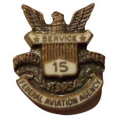 Old Federal Aviation Agency 15 Year Pin Screwback FAA