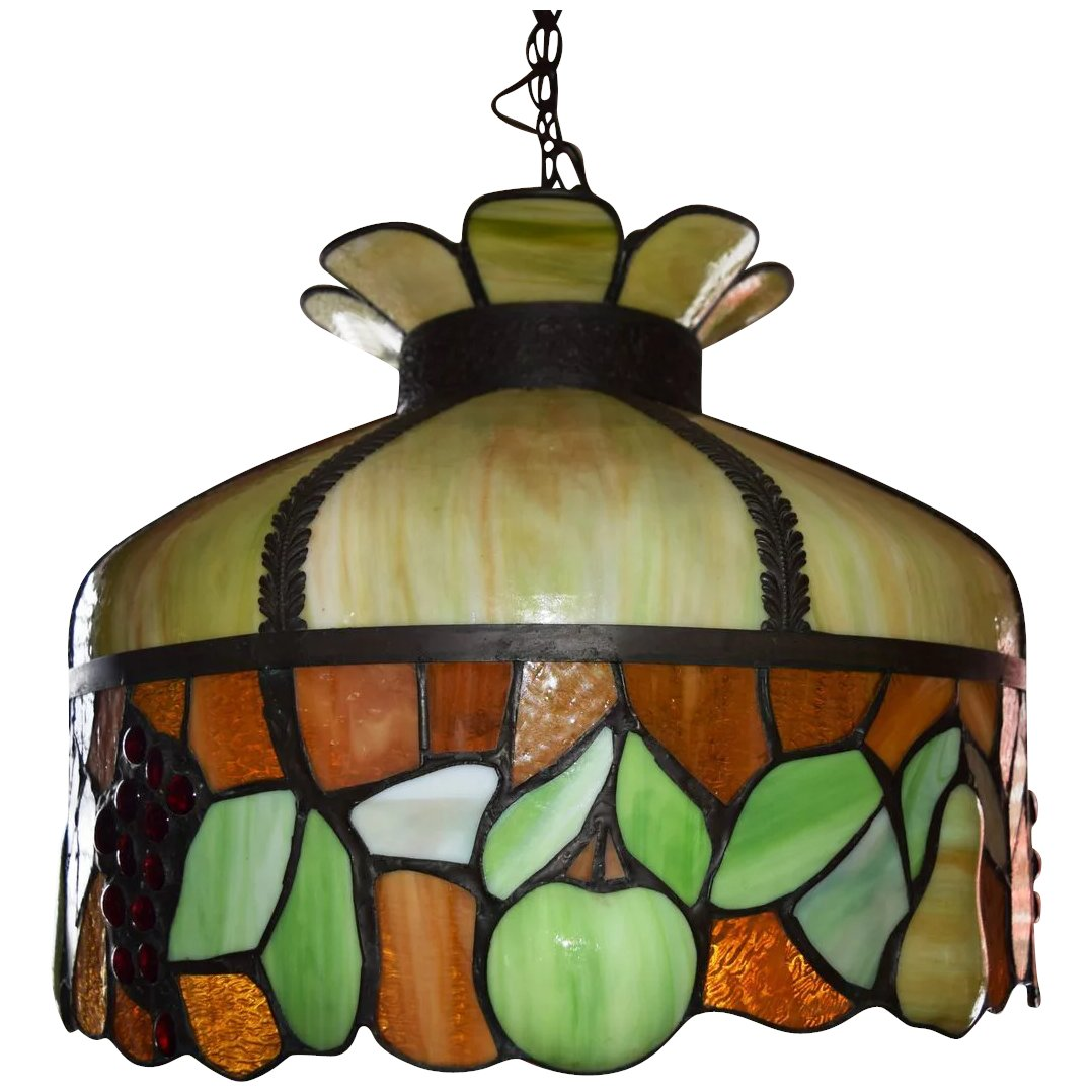 Antique Leaded Stained Glass Chandelier Fruit Motif ca. 1890. Click to  expand - Antique Leaded Stained Glass Chandelier Fruit Motif Ca. 1890 SOLD