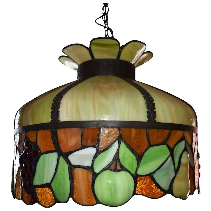 antique leaded stained glass chandelier fruit motif ca 1890 sold