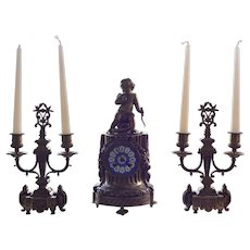 Antique French Bronze Table or Mantle Clock with Two Candelabras