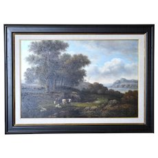 Landscape with Grazing Cattle and Sheep Oil on Canvas