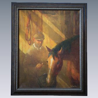 "Igor Zaytsev ""Old Man with Horse"" Oil on Linen"