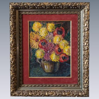 Aimee Annette Lozier (1900–1996) Still Life Oil on Canvas Signed