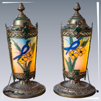 Pair of Renaud Painted Lamps with Yellow-throated euphonia Birds