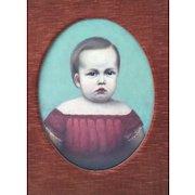 Folk Art Portrait of a Child Painting Oil on Canvas Circa 1850