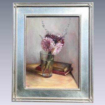 Thimgan Hayden a Still Life Painting of Dahlia's Oil on Board