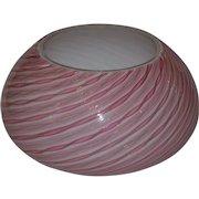 Murano Latticino Art Glass Candy Swirl Bowl by Fratelli Toso