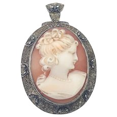 Fahrner Pendant, Lady Cameo Brooch, Sterling Silver, Art Deco Jewelry