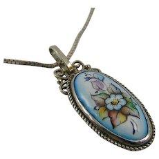 SOLD Russian Finift Enamel Silver Flower Pendant Necklace, Vintage Jewelry