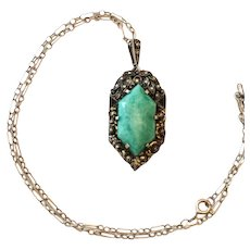 Fahrner Pendant Necklace, Green Peking Glass, Art Deco Sterling Silver