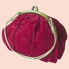 Retro Red Velvet Hand Bag or Purse