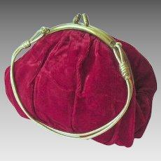 Retro Red Velvet Hand Bag or Purse