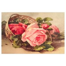 Antique Greetings Postcard, Roses, Switzerland, Paper SPRING SALE