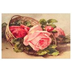 Antique Greetings Postcard, Roses, Switzerland, Paper SPRING SALE
