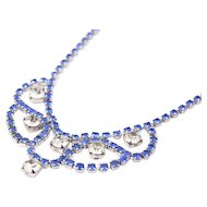 Blue and Clear Rhinestone Necklace with Earrings, Festoon, Bib, Art Deco Style Vintage Jewelry,