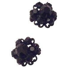 Black Rhinestone Brooch With Earrings, Vintage Jewelry Set Mid Century SUMMER SALE